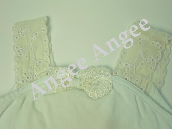 【Tea Princess】レースたっぷりおしゃれ上品なタンクトップ(White Singlet with cream lace)