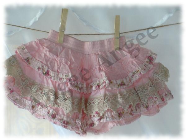 pink icing ruffle shorts