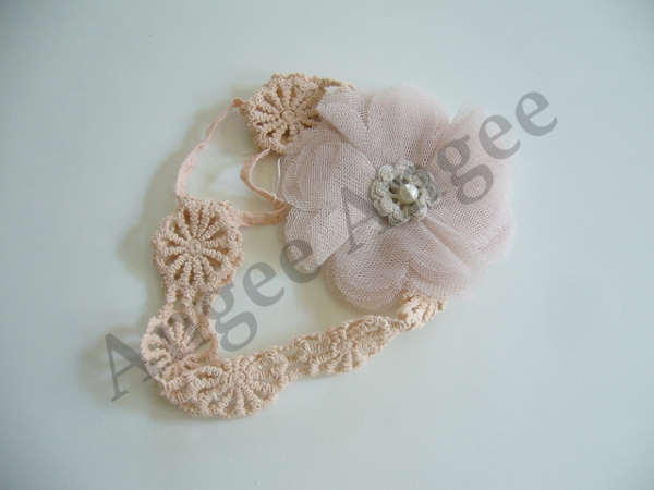 dusty pink crochet headband