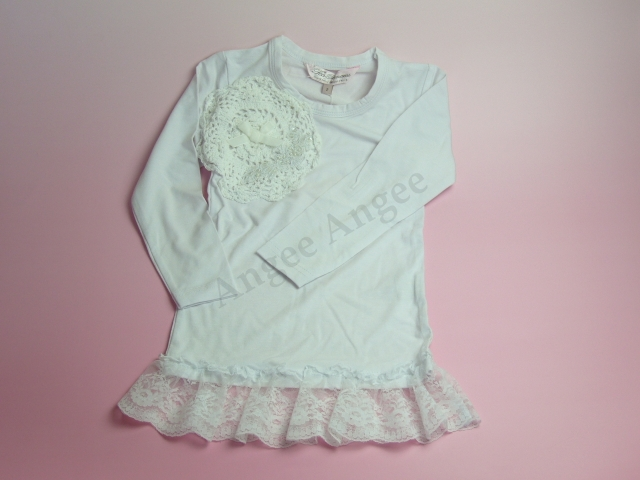 【Tea Princess】White l/s stretch top
