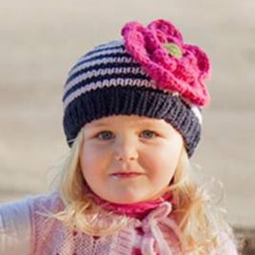 Pink and Deep Navy Ziggy Beanie Hat